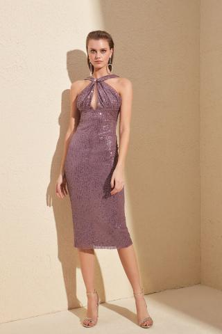 Trendyol Rose Dry Neck Cleavage Payet Dress dámské Lilac 40