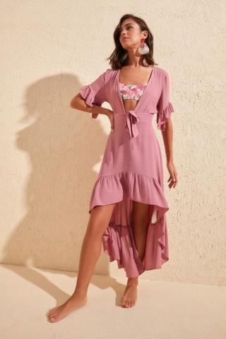 Trendyol Rose Dry Volli Viskon Beach Dress dámské 42