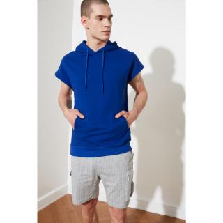 Trendyol Saks Mens Regular Fit Hooded Short Sleeve Sweatshirt pánské Royal Blue S