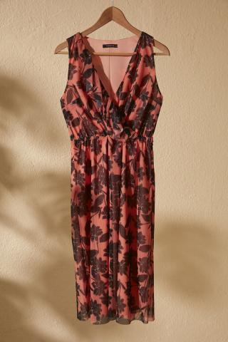 Trendyol Salmon Cruise Neck Line Patterned Knitted Dress dámské XS