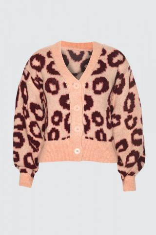 Trendyol Salmon Leopard Print KnitWear Cardigan dámské S