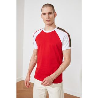 Trendyol Short Sleeve T-Shirt with Red Male Slim Fit Contrast Panel S