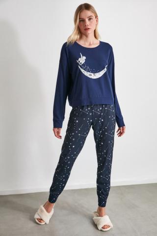 Trendyol Star Printed Knitted Pajama Set dámské Multi S