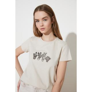Trendyol Stone Embroidered Basic Knitted T-Shirt dámské XS