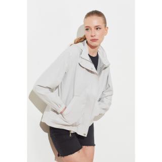 Trendyol Stone Hooded Zipper Closed Mont dámské XS