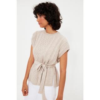 Trendyol Stone Knit Detailed Tie Knitwear Sweater dámské Other M