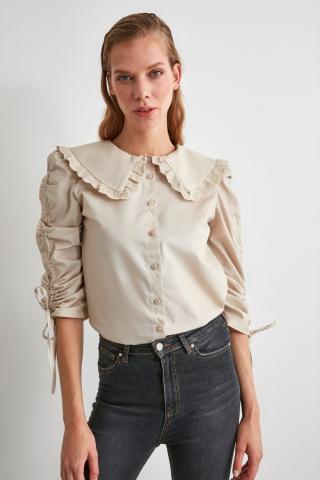 Trendyol Stone Lace Striped Shirt dámské 34