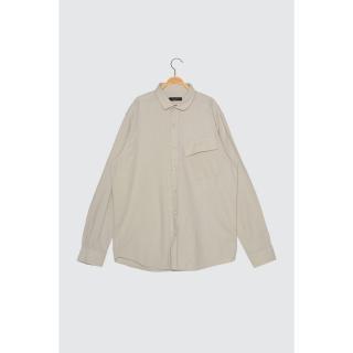 Trendyol Stone Mens Regular Fit Single Pocket Shirt pánské S