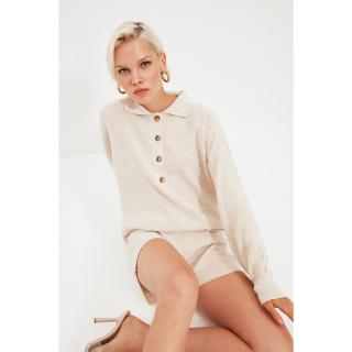 Trendyol Stone Polo Collar Button Detailed Knitwear Jumpsuit dámské Other S