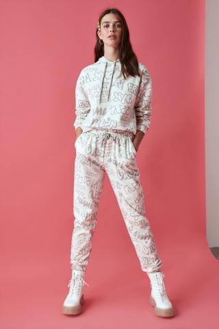 Trendyol Stone Printed Basic Knitted Tracksuit Set dámské S