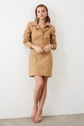 Trendyol Stone Shirt Collar Dress dámské 34