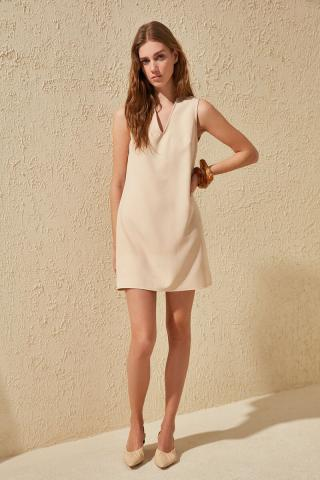 Trendyol Stone V Collar Basic Dress dámské 42