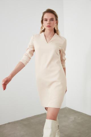 Trendyol Stone V Collar Dress dámské 34