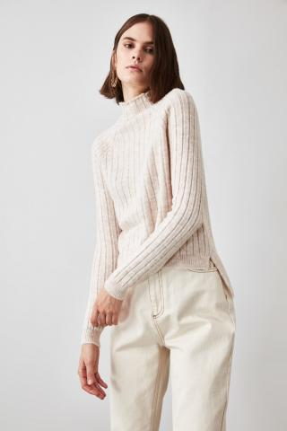 Trendyol Stone Wicked Upright Collar Knitwear Sweater dámské S