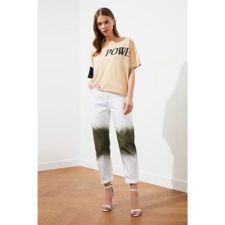 Trendyol Straight Jeans WITH White Black Wash Effect dámské 34