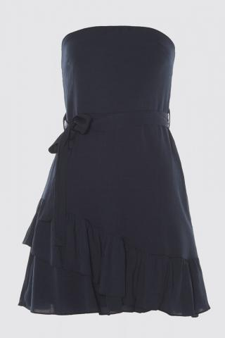 Trendyol Strapless Dress with Blue Belt Volli Wearer dámské Navy 38
