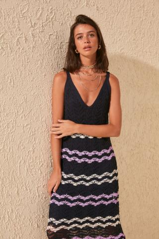 Trendyol Striped Knitwear Dress with Navy Blinds dámské M