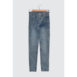 Trendyol Super High Waist Skinny Jeans dámské Navy 34