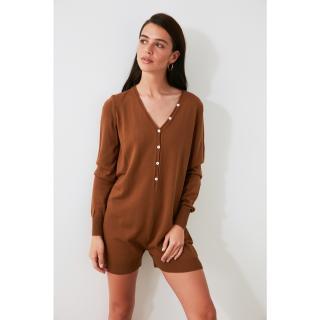 Trendyol Taba Button Knitwear Jumpsuit dámské Tan S
