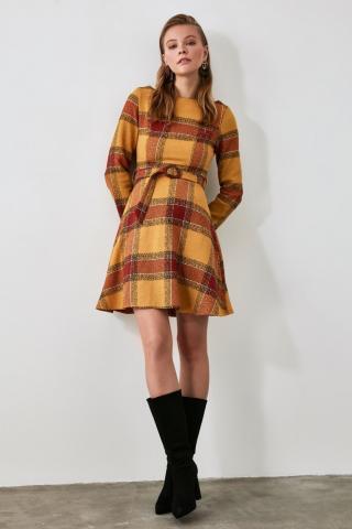 Trendyol Tdher Belt Dress dámské TİLE 34