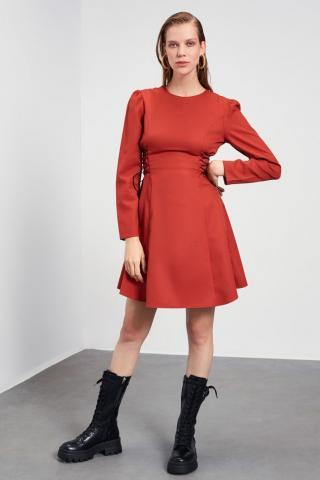 Trendyol Tile Flywheel Fastening Detailed Dress dámské 34