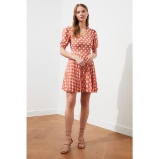 Trendyol Tile Polkalic Pleat Dress dámské 34