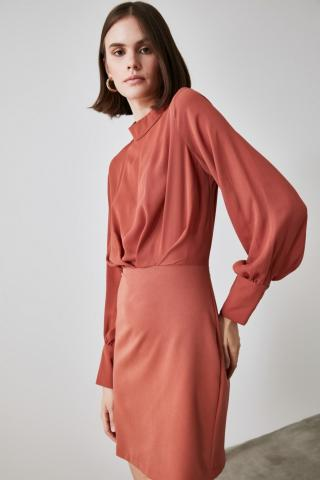 Trendyol Tile Sheer Neckline Smuz dress dámské 34
