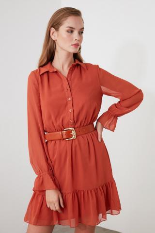 Trendyol Tile Shirt Collar Dress dámské 34