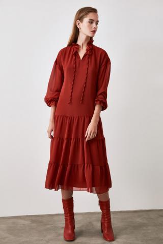 Trendyol Tinted Frill dress dámské TİLE 34