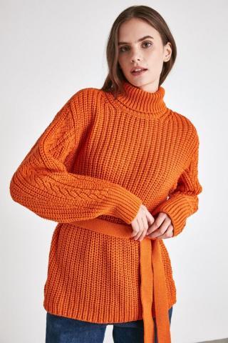 Trendyol Turtleneck Knitwear Sweater with Orange Binding Detail dámské S