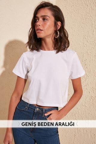 Trendyol White 100% Cotton Bike Collar Crop Knitted T-Shirt dámské S