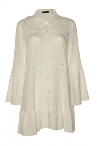Trendyol White Accessory Detailed Shirt dámské 34