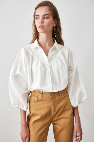 Trendyol White Balloon Sleeve Shirt dámské 34