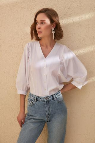 Trendyol White Balloon Sleeve Shirt dámské 40
