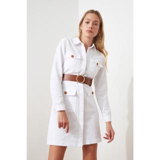 Trendyol White Belt Pocket Detailed Dress dámské 34