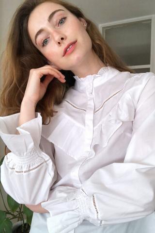 Trendyol White Collar Detailed Shirt dámské 38