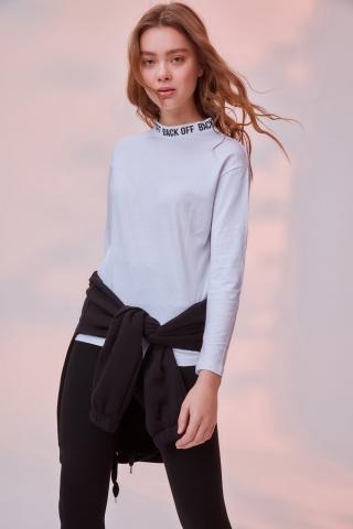 Trendyol White Collar Printed Knitted T-shirt dámské XS