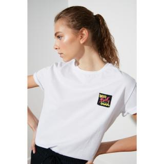 Trendyol White Embroidered Semi-Fitted Sports T-Shirt dámské S
