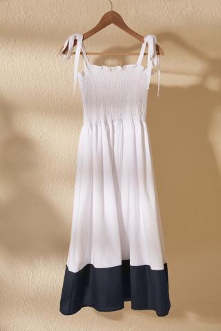Trendyol White Gipe Detailed Dress dámské 34