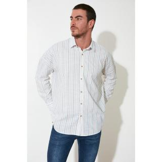Trendyol White Male Oversize Fit Shirt Collar Long Sleeve Striped Shirt S