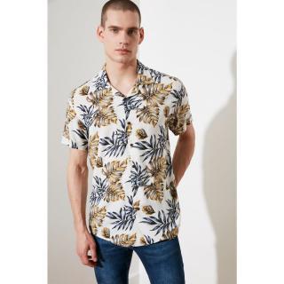 Trendyol White Male Regular Fit Apaş Collar Leafy Shirt S