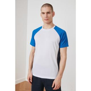 Trendyol White Male Regular Fit Bike Collar Short Sleeve T-Shirt S