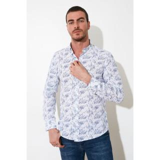 Trendyol White Male Slim Fit Button Collar Shirt S