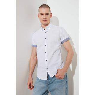 Trendyol White Male Slim Fit Buttoned Collar Short Sleeve Linen Shirt S