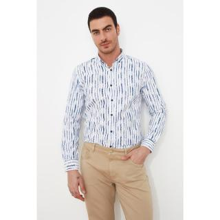 Trendyol White Male Slim Fit Printed Button Collar Shirt S