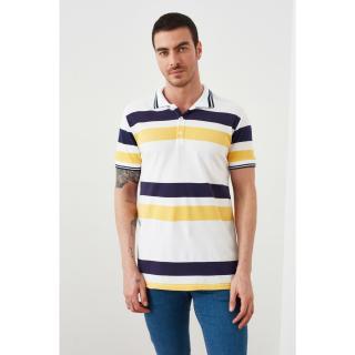Trendyol White Male Slim Fit Short Sleeve Printed Polo Neck T-shirt S