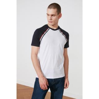 Trendyol White Male Slim Fit Short Sleeve Striped T-Shirt S