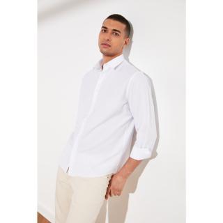 Trendyol White Mens Relax Fit Shirt Collar Oxford Shirt pánské S