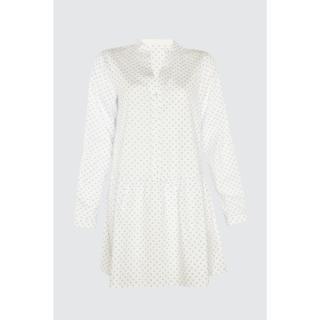 Trendyol White MinimalLy Patterned Woven Beach Dress dámské 34