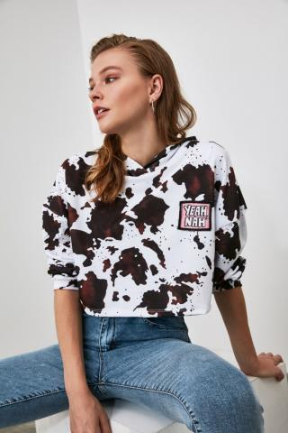 Trendyol White Printed Crop Knitted Sweatshirt dámské XS